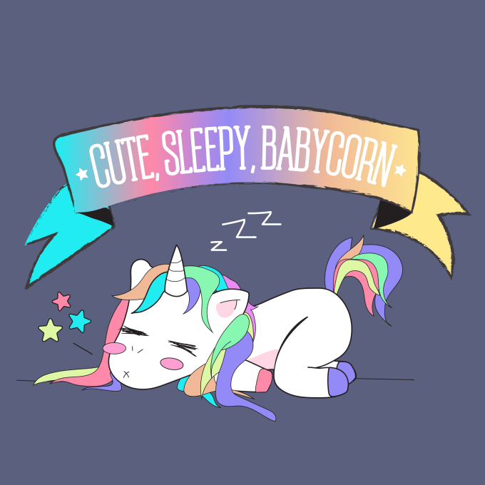 Make cute unicorn vector illustration by Bluewesome