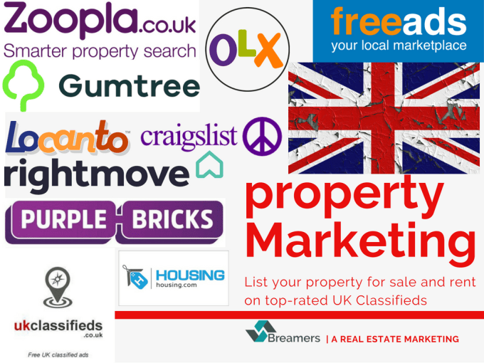 breamers : I will post property ads in 15 top rated UK classifieds for $20  on www fiverr com