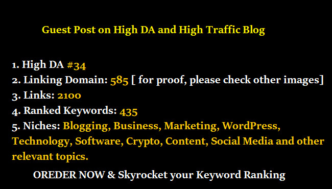 blogoutreach1 : I will do a guest post on da34 high traffic blog for higher  ranking for $35 on www fiverr com
