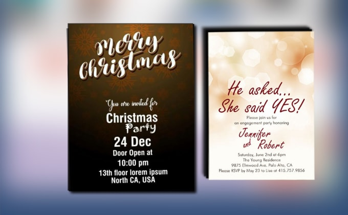 Christmas Party Wedding Invitations Card Design