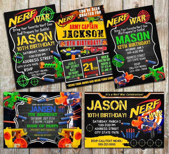 Design A Nerf Invitations For Your Birthday Party By Kath212