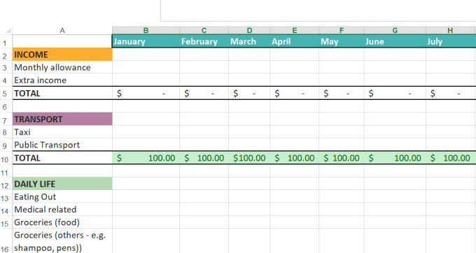 make a simple excel spreadsheet to track your personal goals
