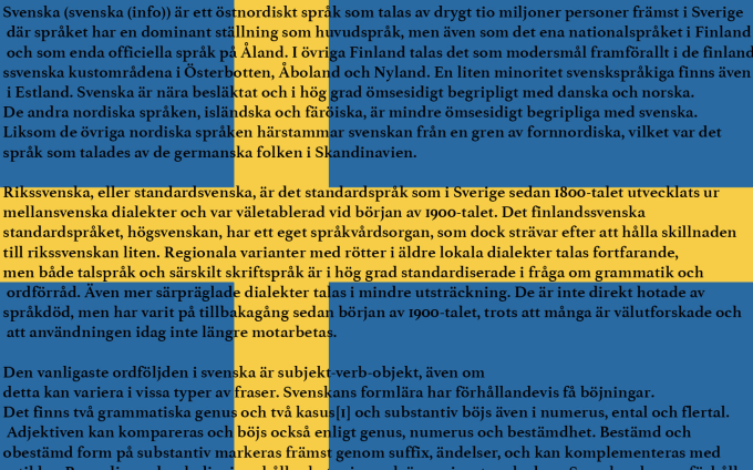 write a 50 word article for you in swedish