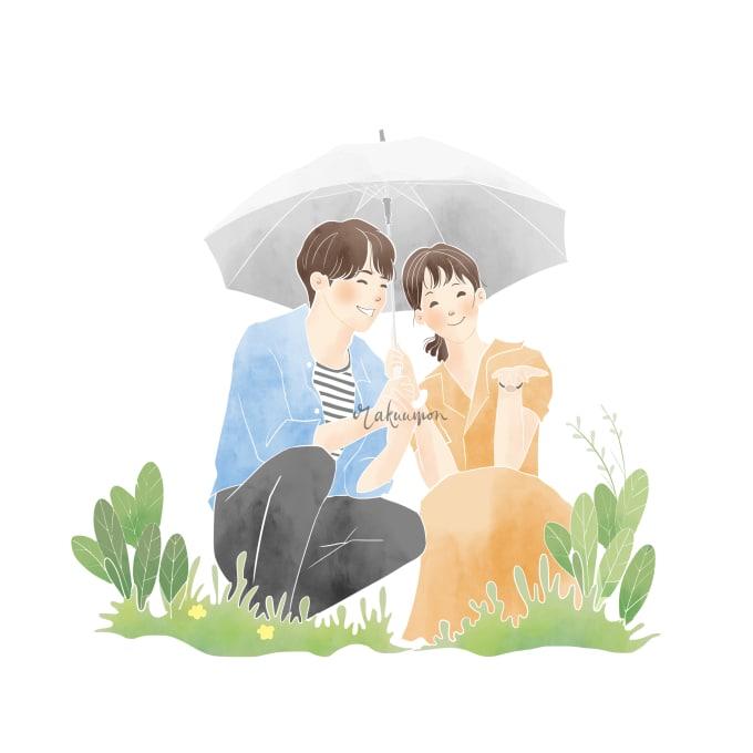 Draw Couple Or Family With Simple Cute Cartoon Style By Rakuumon