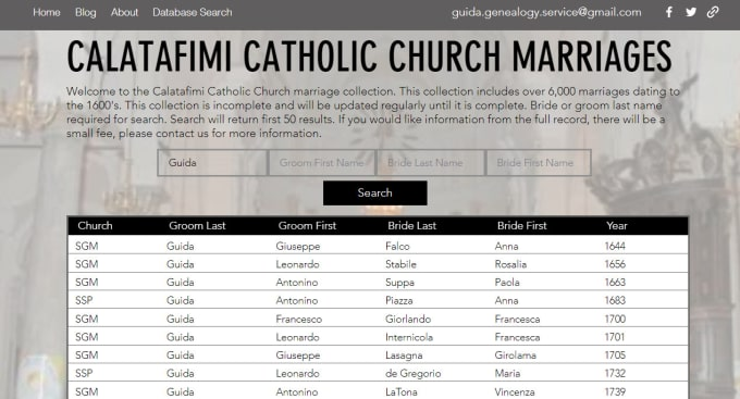 guidagenealogy : I will provide a record from my calatafimi database at  guidagenealogy dot com for $5 on www fiverr com