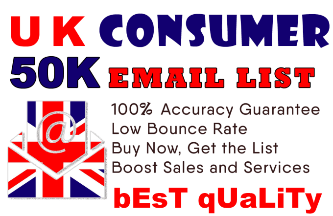 find 50k UK consumers email list