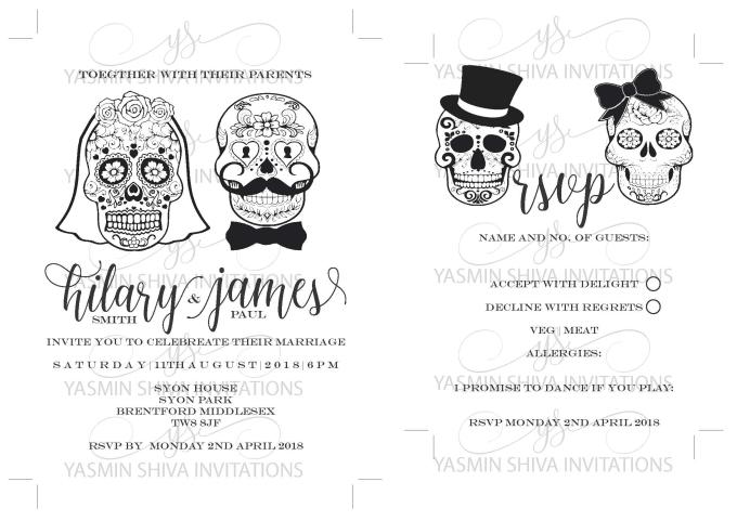 Make a digital sugar skull wedding invitation set by Alishacreative1