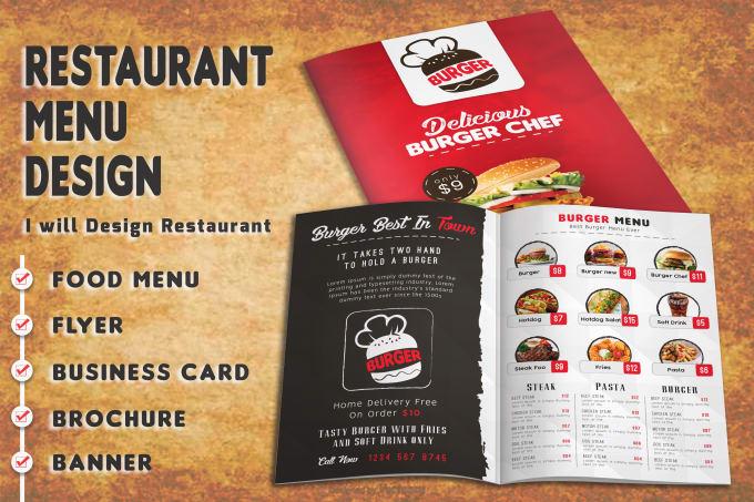 design restaurant menu flyer brochure business card by shakil432