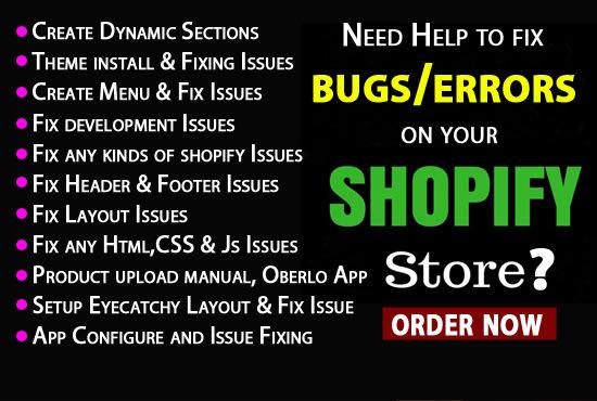 seoprro : I will fix bugs, update, modify, improve your shopify store for  $20 on www fiverr com