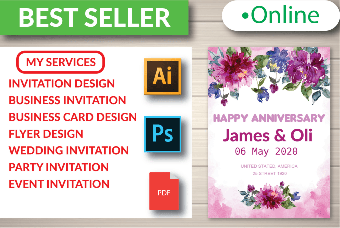do wedding invitation design and flyer design