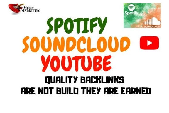 do seo backlinks for soundcloud, youtube music and spotify