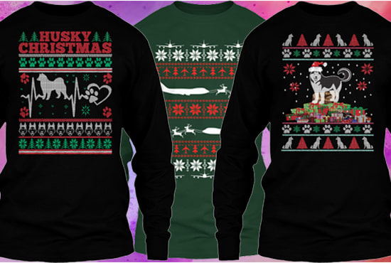I will create ugly christmas sweater tshirt design