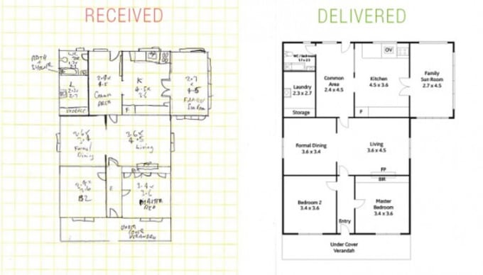 draw your floor plan based off of your hand sketch by kmarquezz. Black Bedroom Furniture Sets. Home Design Ideas
