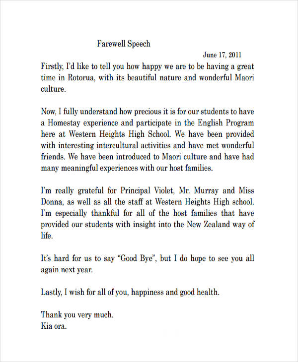 Essay farewell speech