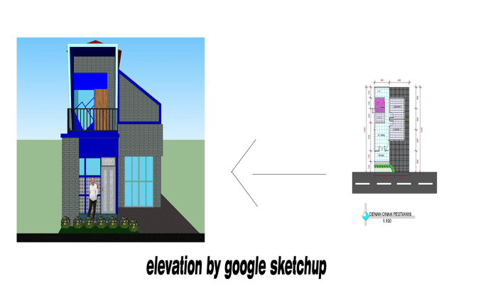 do draw house elevation in autocad or google sketchup
