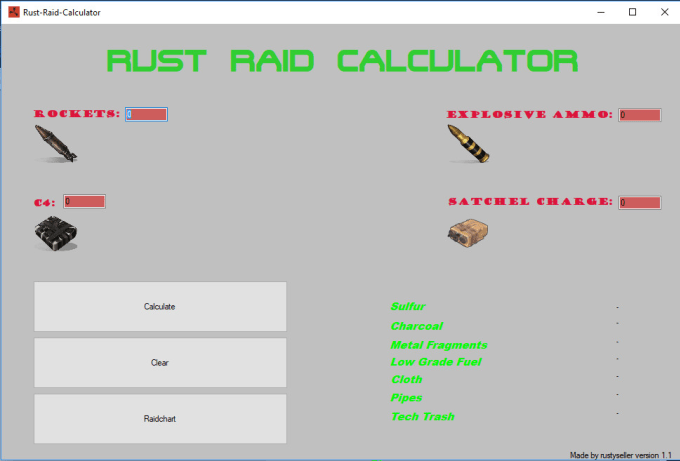 rustyseller : I will sell you an exclusive rust tool to calculate raid cost  for $5 on www fiverr com