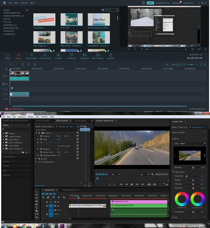 do premiere pro and filmora video editing