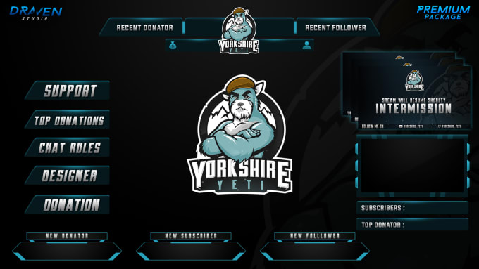 design twitch overlay mascot and esports logo by dravenstudio