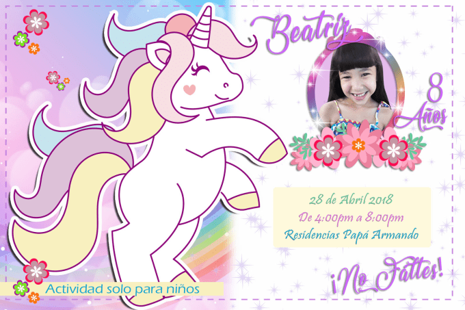 I Will Design Kids Party Invitations In Spanish Or English