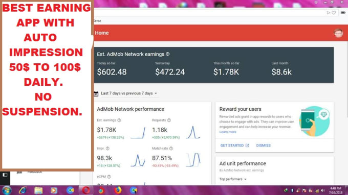 admob_master : I will create admob adsense self click earning,auto  impression app for $5 on www fiverr com