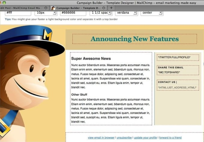 how to send a template in mailchimp
