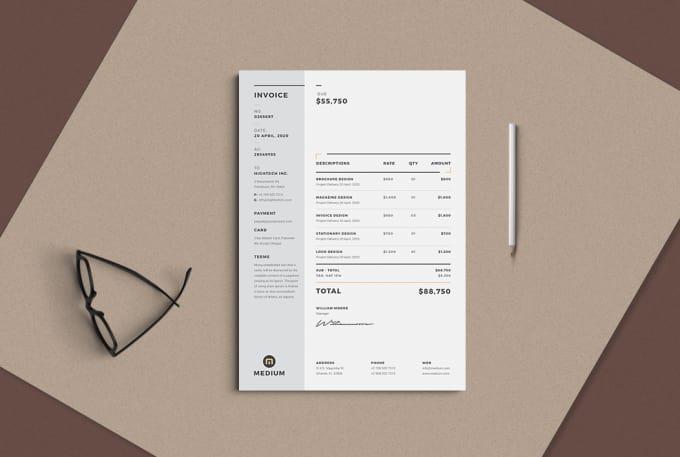 Professional Invoice Design Template Fiverr