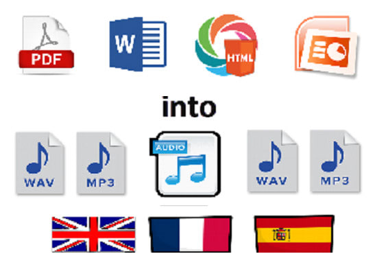 do english french and spanish books, text documents in audio