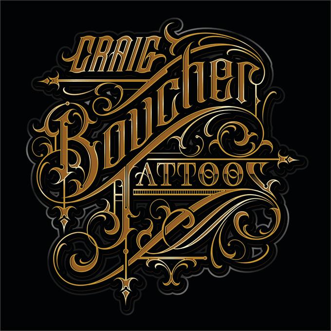 Custom lettering tattoo logo design caligraphy barbershop ink by ...