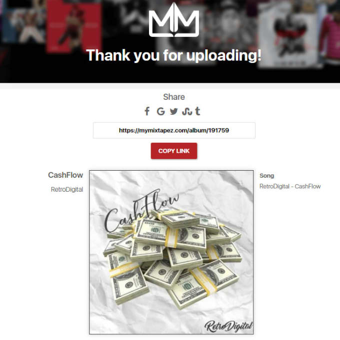 upload your music to my mixtapez and create an artist page