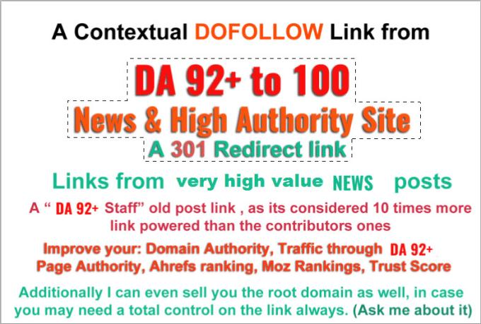 build dofollow 301 redirect backlink on da 92 plus sites, highest authority  SEO