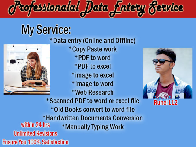 do data entry, PDF to word or excel and copy paste work