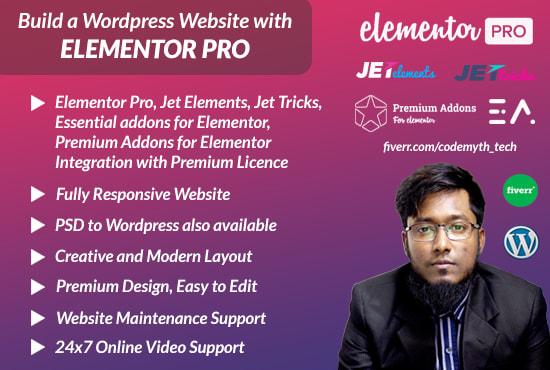build a wordpress website with elementor pro