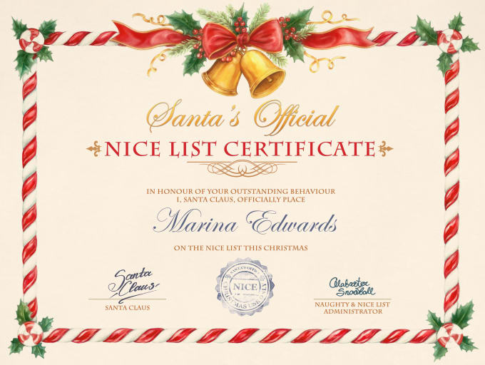 Make You Santas Official Nice List Certificate