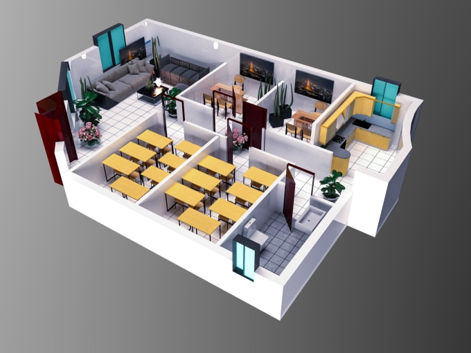 Draw 2d and 3d floor plan with furniture drawing with