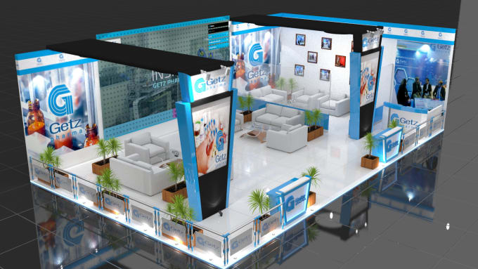 Exhibition Stall Designer Job : Create realistic d exhibition stall design by viszel