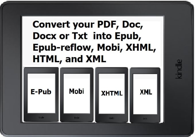 convert book in epub, mobi, xhtml, and XML