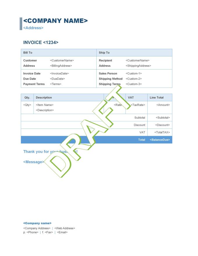 design quickbooks online custom invoice templates