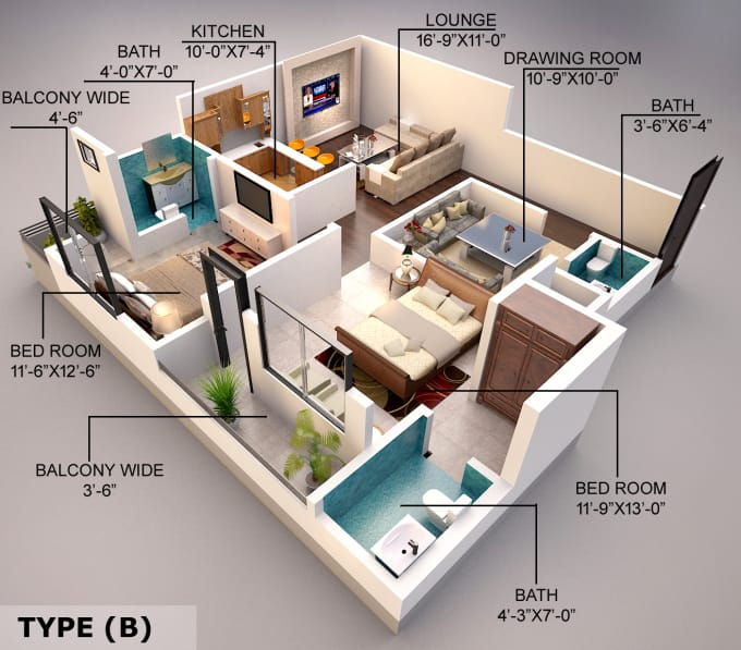 Create 3d Floor Plan Exterior And Interior Model Sketchup