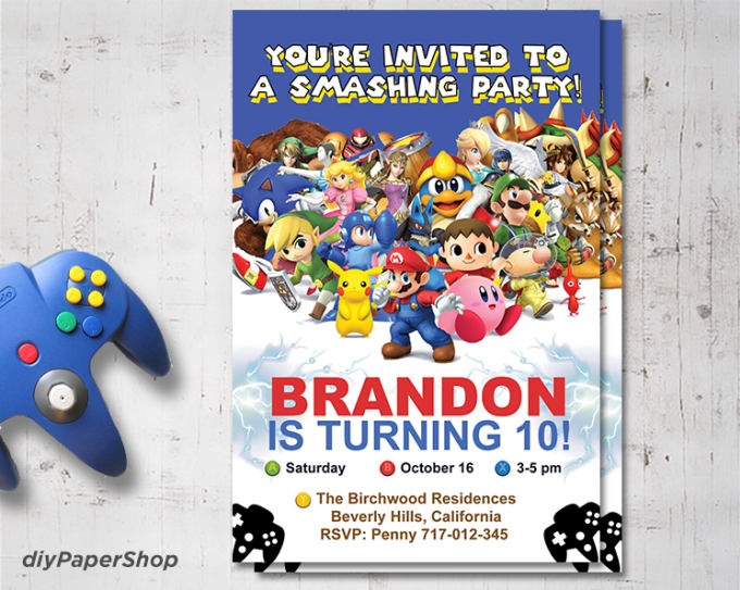diypapershop : I will design a super smash bros invitation for you for $5  on www fiverr com