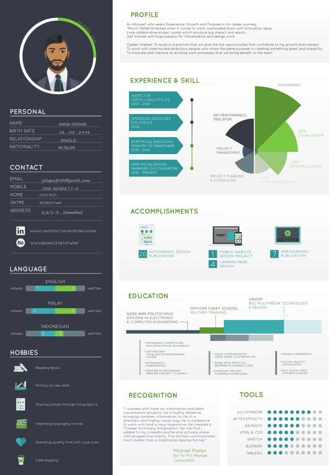 make infographic resume and graphical cv by jaliqa