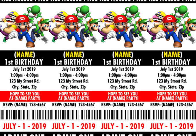 Customize A Super Mario Bros Theme 3 Birthday Party Movie Ticket