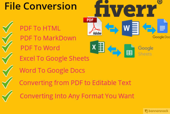 convert pdf, word, excel to google docs, sheets and slides, markdown and  HTML