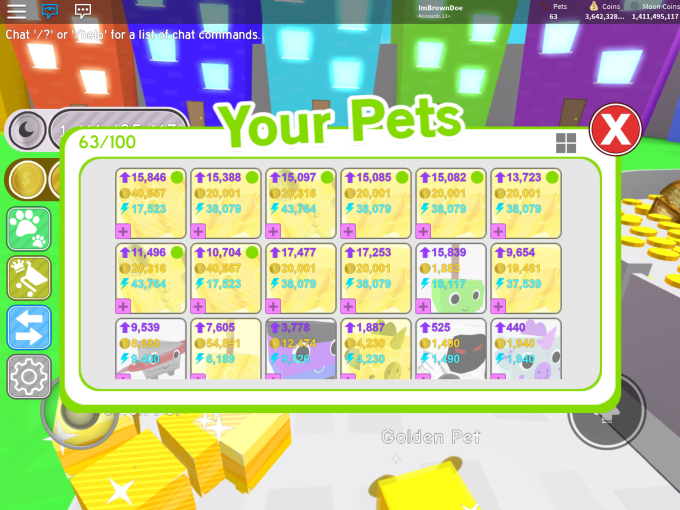 sell you op golden pets in roblox pet simulator