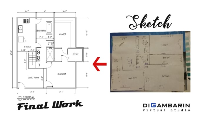 Draw floor plan in autocad by Des8jaaa