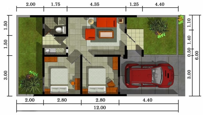 Design A Floor Plan For A Type 36 House With A Minimalist Concept 2d