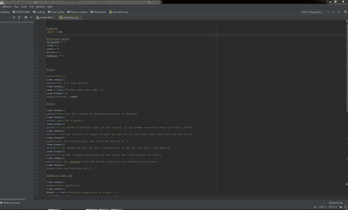 code a small text based game for you using python