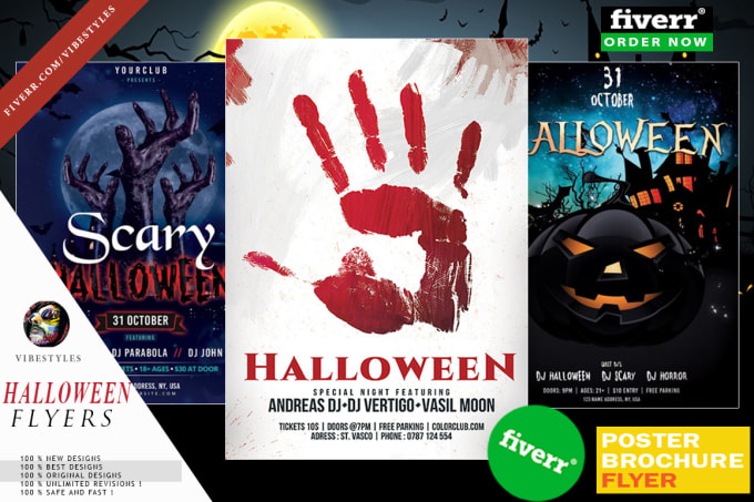 Do outstanding scary halloween party flyer by Vibestyles