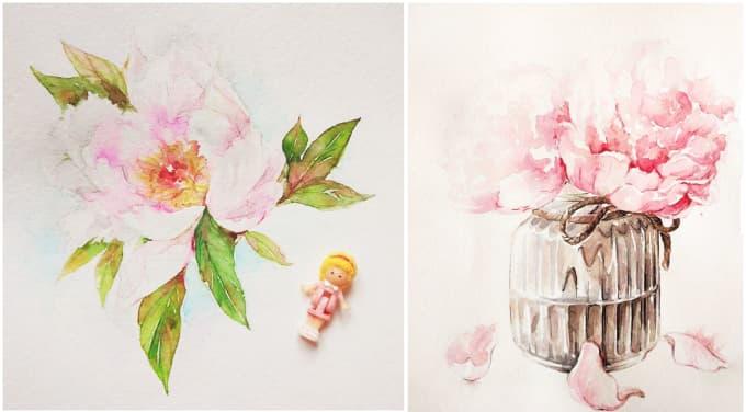 draw beautiful flower botanic illustration for you