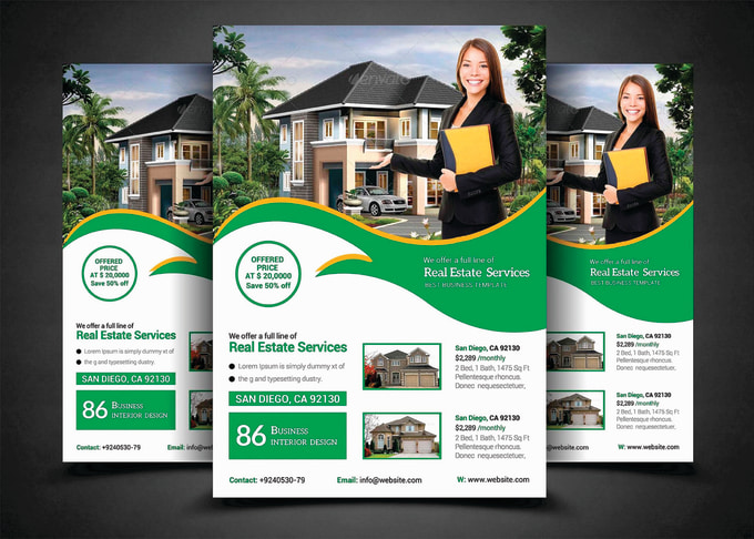 design real estate flyer poster brochure and banner by