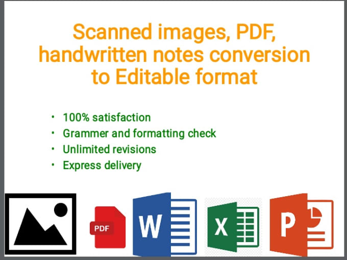 transcribe scanned documents, images, PDF and hand written data to word or  excel
